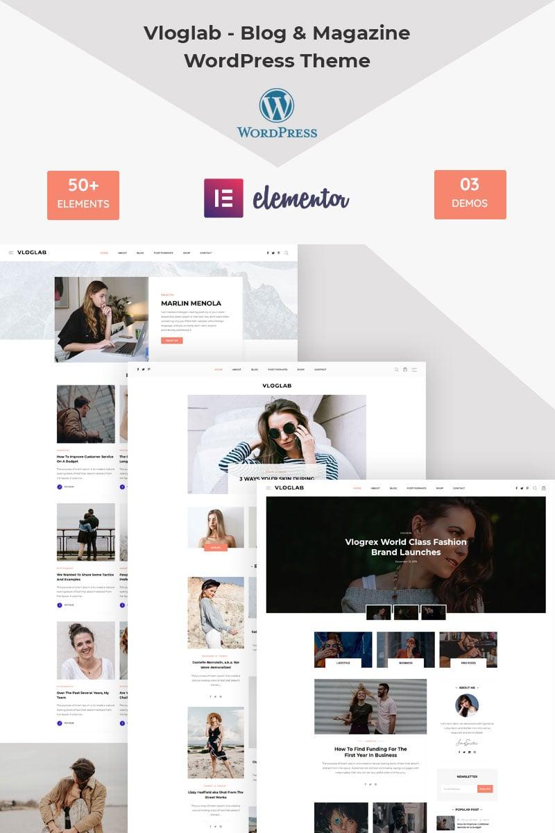 Vloglab - Blog & Magazine Tema WordPress №98411
