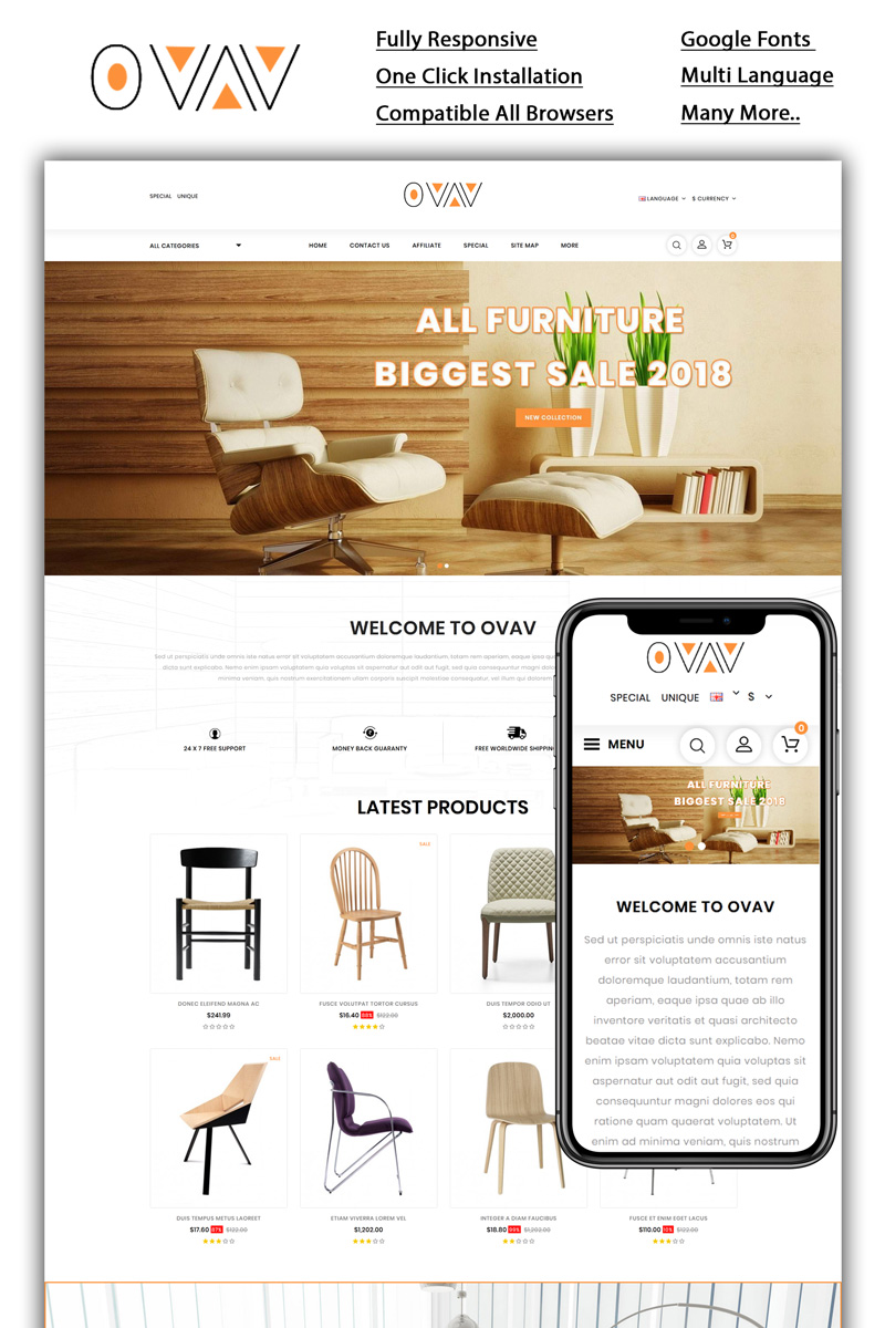 Ovav - Furniture Store Template OpenCart №98589