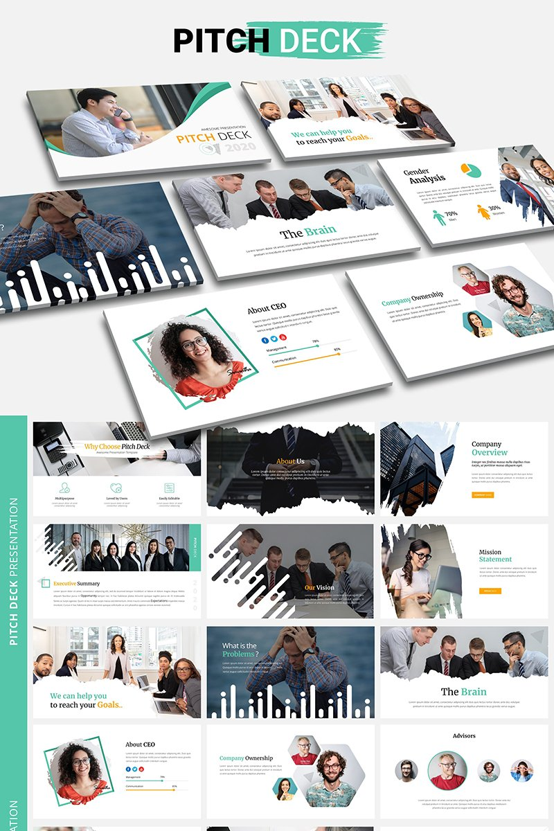 """Pitch Deck"" PowerPoint Template №98595"
