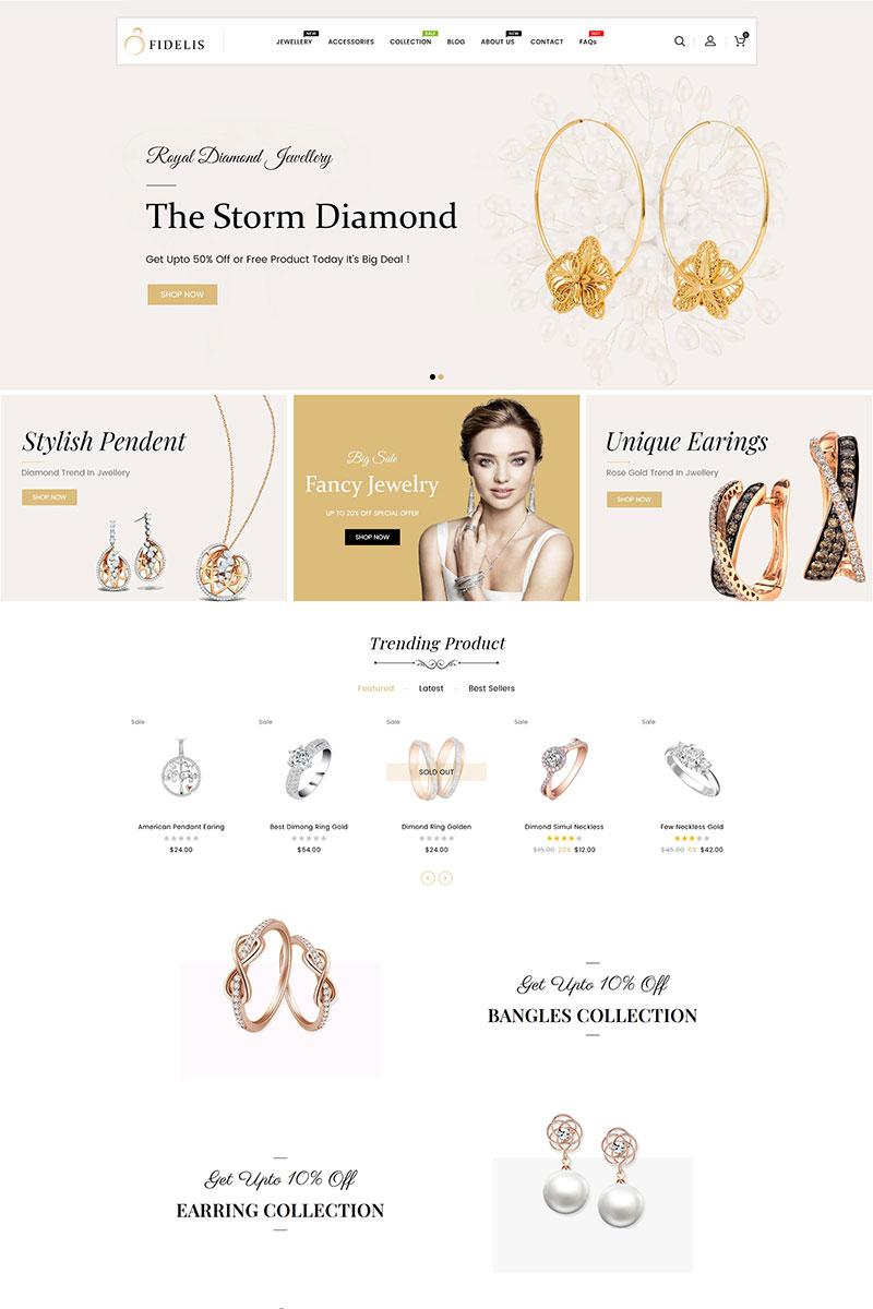 Reszponzív Fidelis Jewellery Shopify sablon 98587