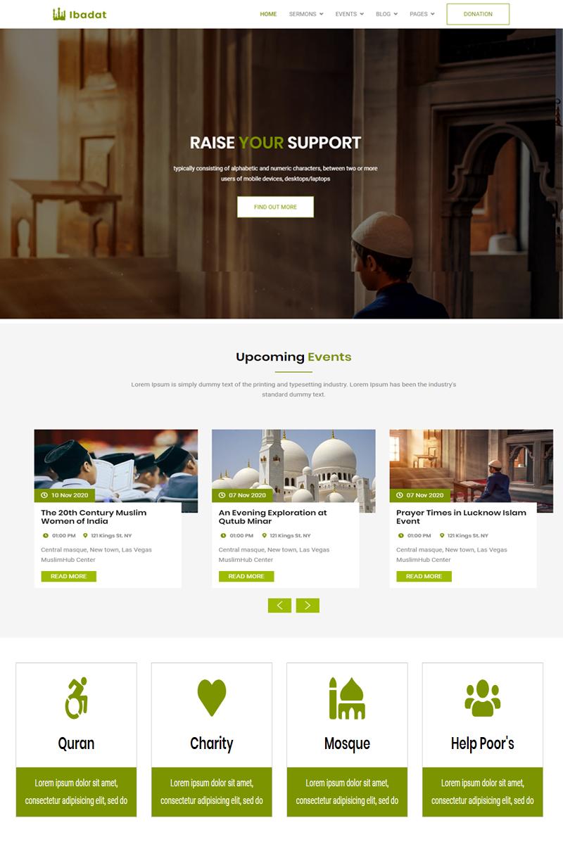 Reszponzív Ibadat - Donation, Nonprofit HTML5 Weboldal sablon 98579
