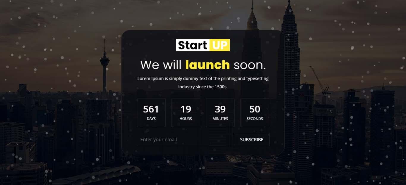 "Tema Pagina web provvisoria Responsive #98583 ""Startup - Coming soon template."""