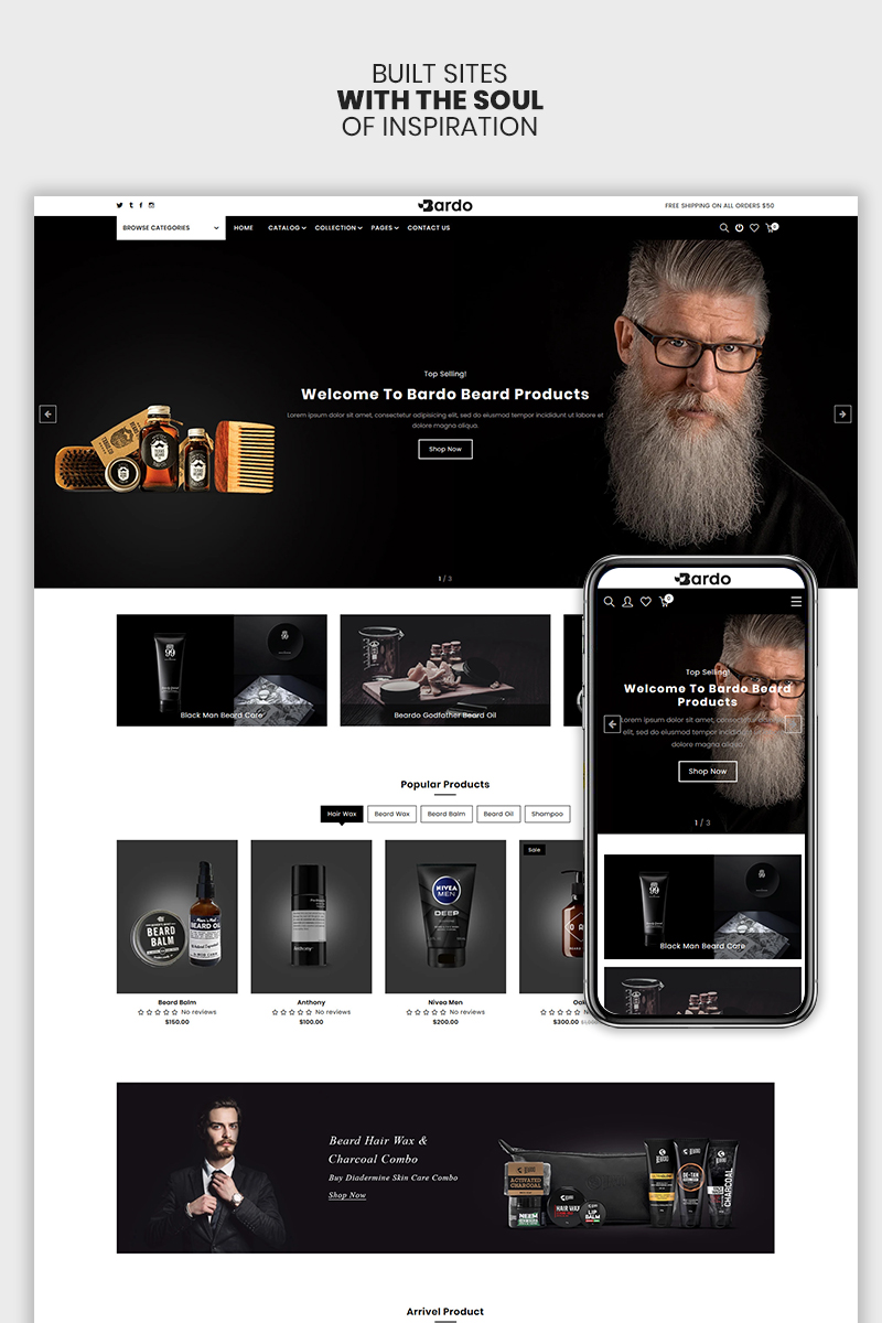 "Tema Shopify Responsive #98580 ""Bardo - The Beardo & Fashion Premium"""