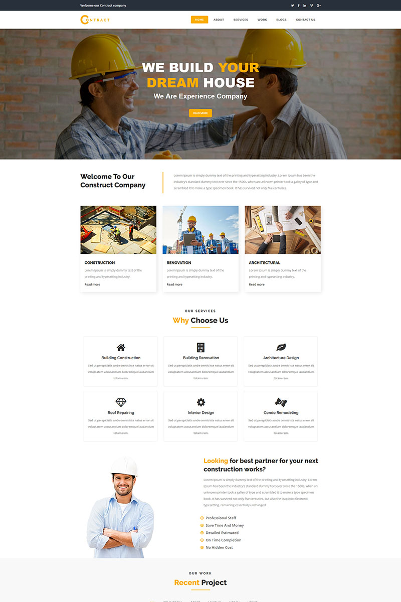 Contract - Construction Website Template - screenshot