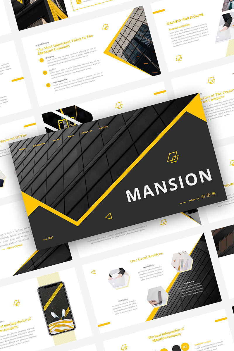 MANSION PowerPoint sablon 98663