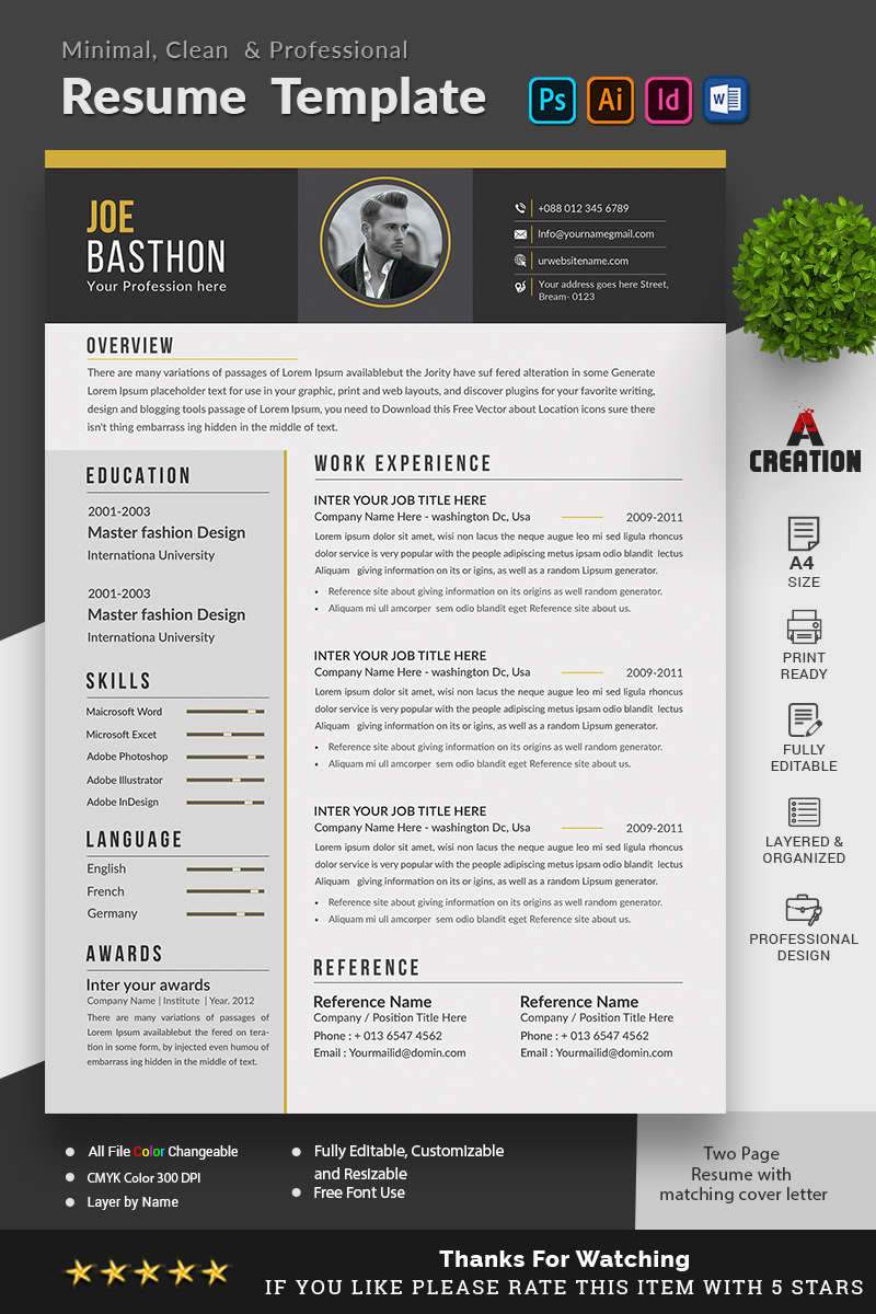 "Plantilla De CV ""Ben Jonathon - Graphic Designer"" #98695"