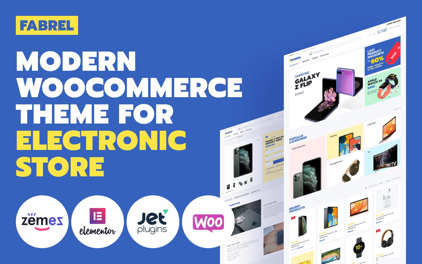 Responsivt Fabrel - Electronics Store Online WooCommerce-tema #98675