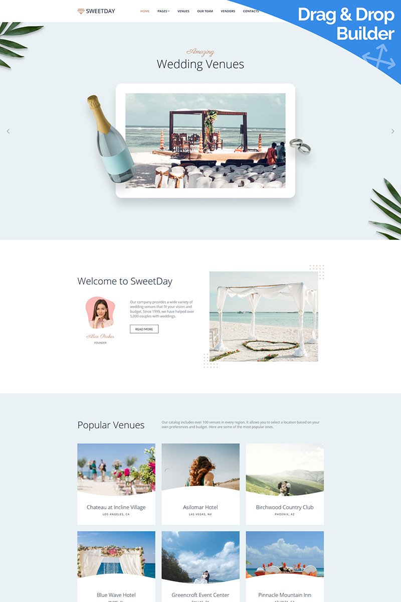 SweetDay - Wedding Venue Moto CMS 3 Template