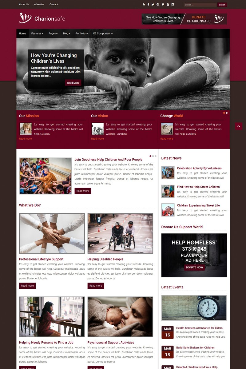 Charionsafe Charity Joomla Template - screenshot