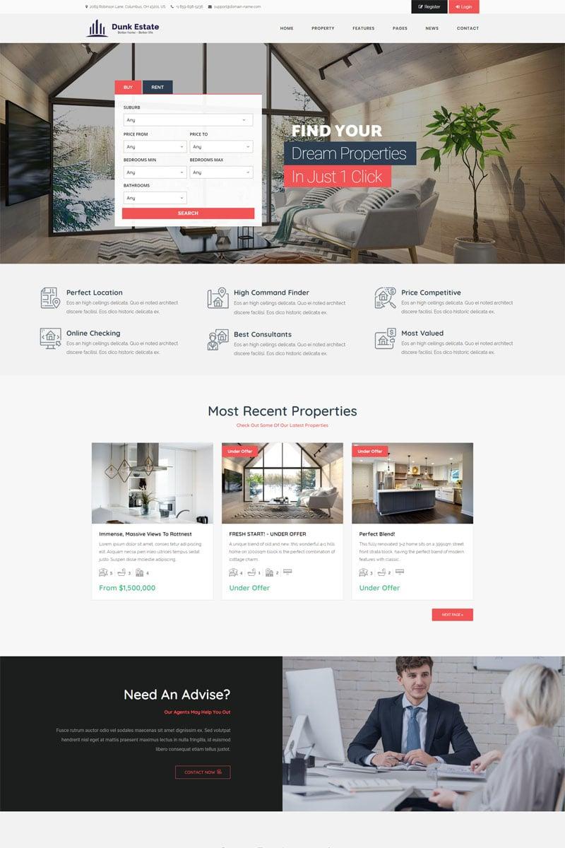"""Dunk Dynamic Real Estate"" Responsive WordPress thema №98795"