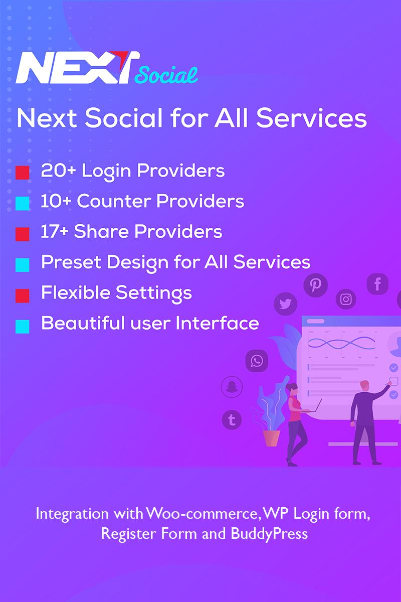 "Modello Plugin per WordPress Responsive #98798 ""Social Login / Share / Counter - Next Social"""