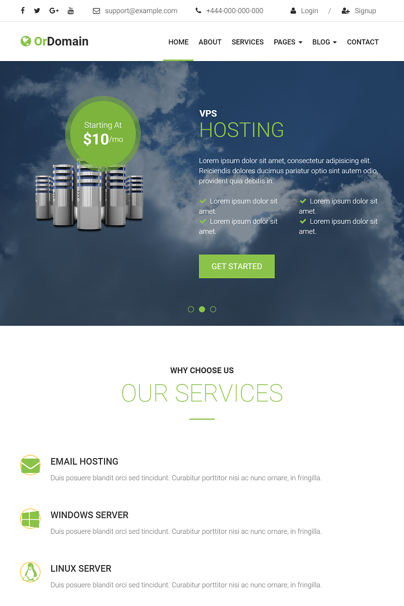 "Plantilla Web ""OrDomain - Domain & Hosting Provider Bootstrap 3"" #98746"