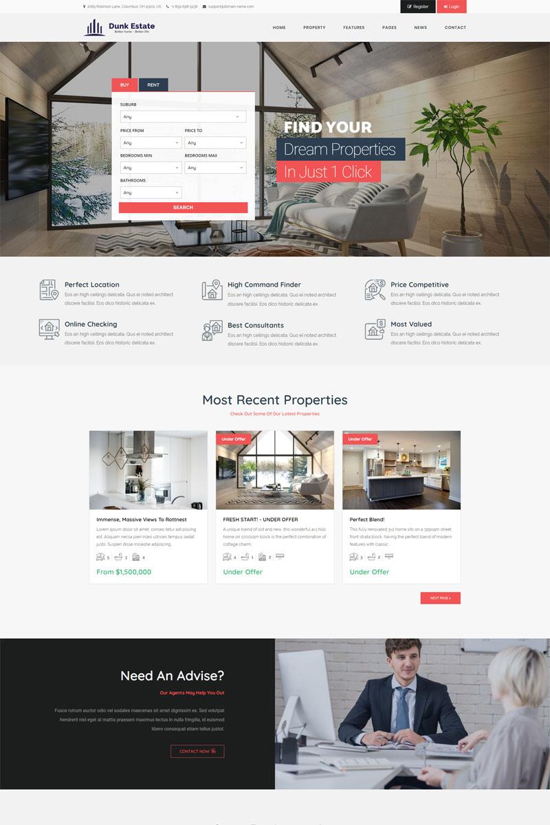 Responsive Dunk Dynamic Real Estate Wordpress #98795