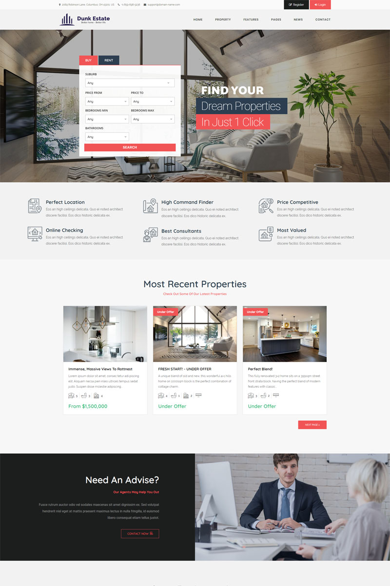 Responsivt Dunk Dynamic Real Estate WordPress-tema #98795