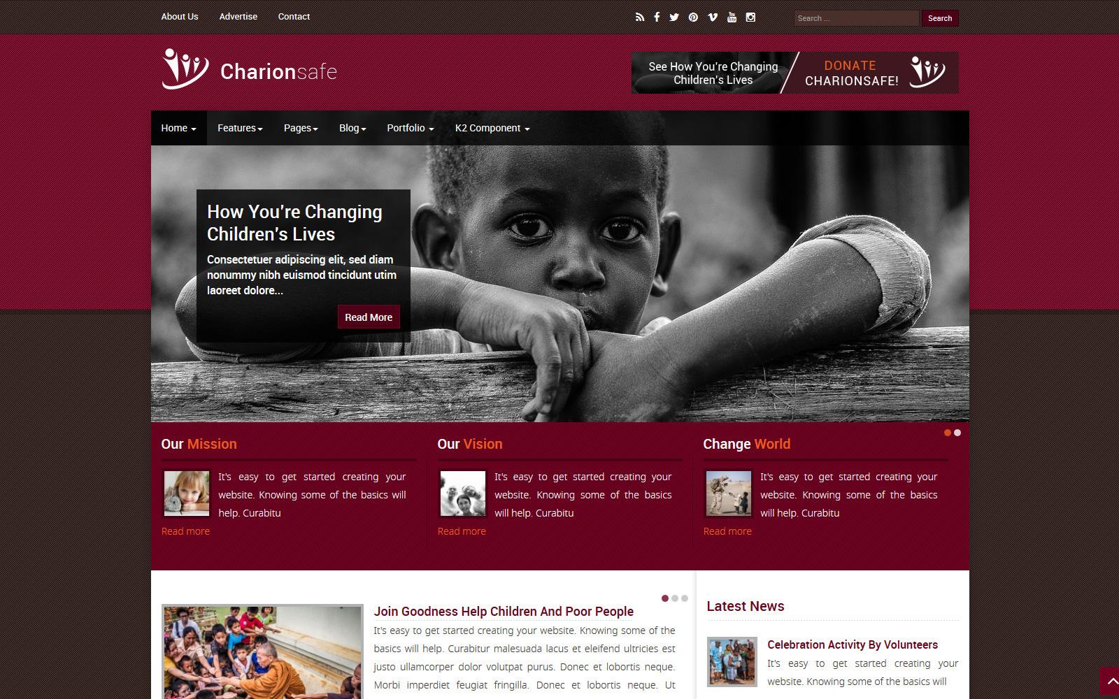 """Responzivní Joomla šablona """"Charionsafe Charity"""" #98742"""