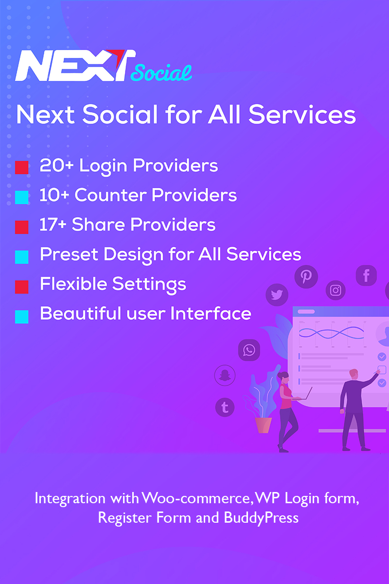 Reszponzív Social Login / Share / Counter - Next Social WordPress bővítmény 98798