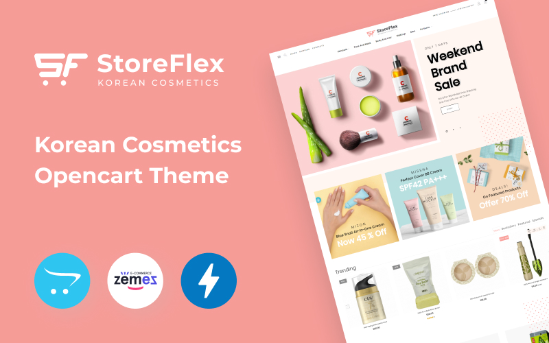 """StoreFlex - Korean Cosmetics eCommerce Template"" - адаптивний OpenCart шаблон №98754"