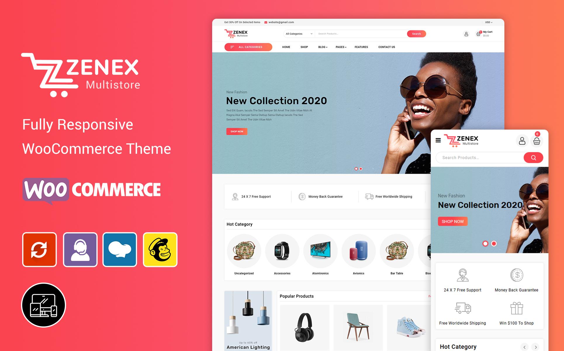 """Tema WooCommerce """"Zenex - eCommerce"""" #98747"""