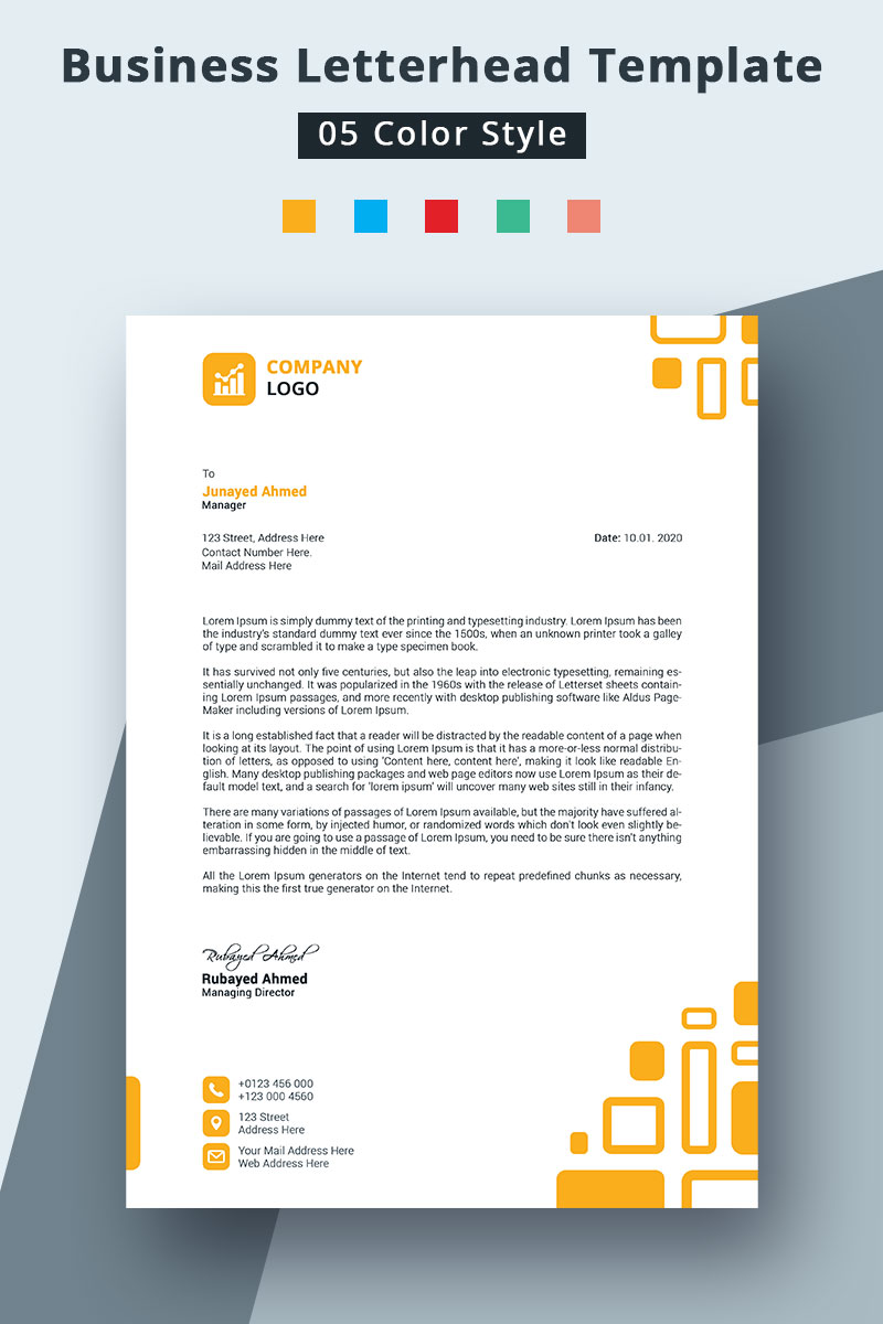 Colorful Letterhead Corporate Identity Template