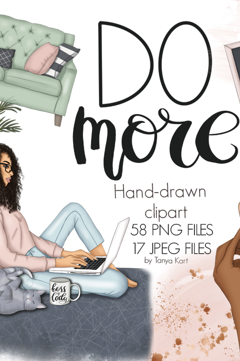 Do More Clipart & Seamless Patterns Illustration