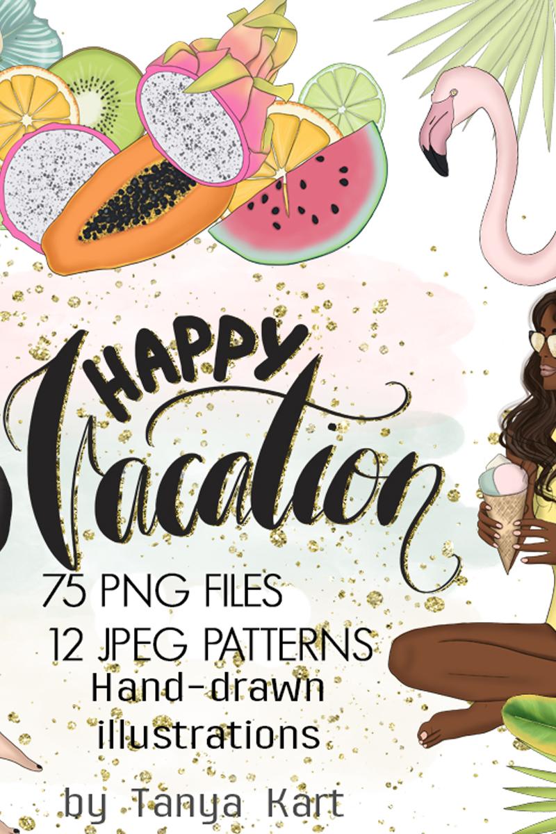 """Ilustración """"Happy Vacation Summer Design Kit"""" #98871"""