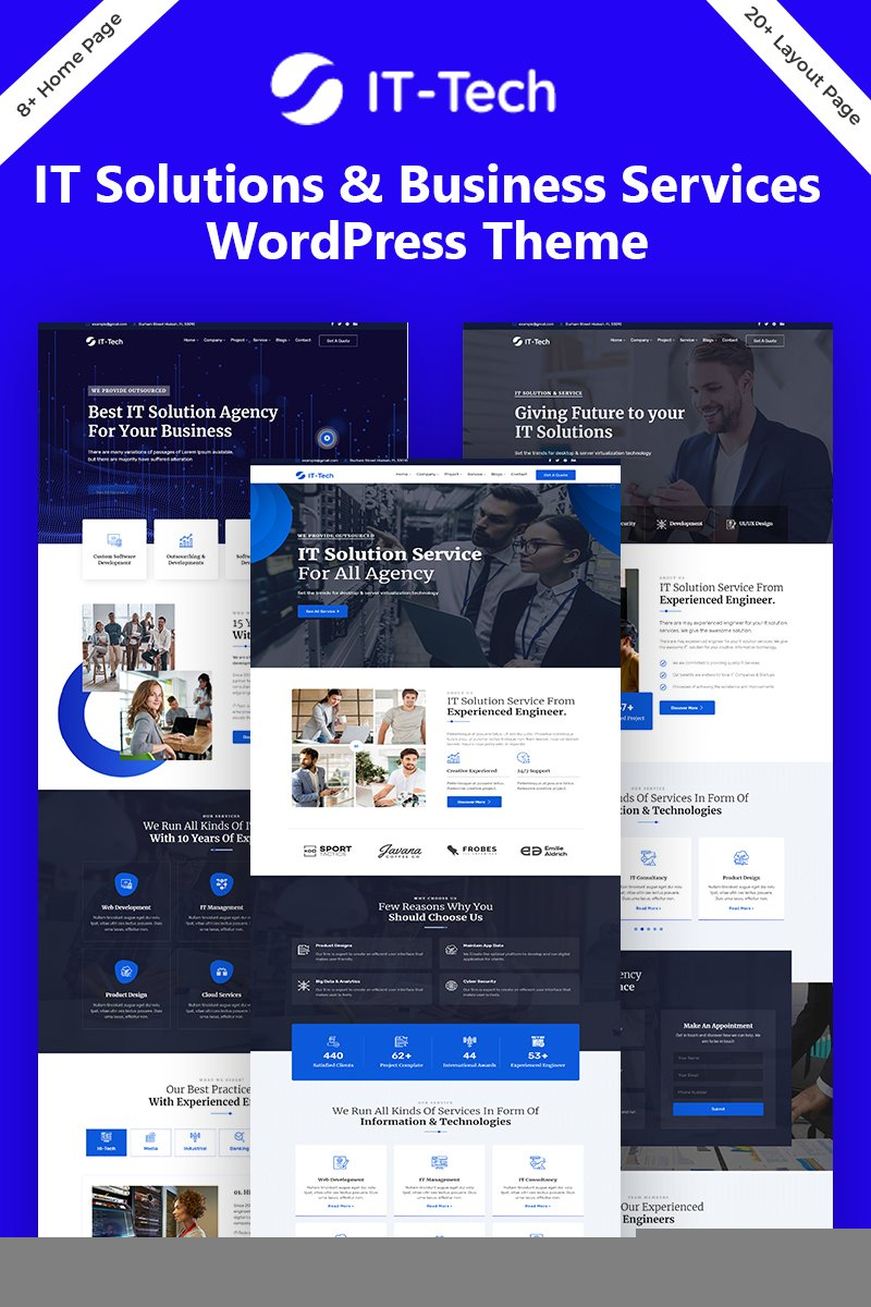 """IT-Tech IT Solution & Business Service"" Responsive WordPress thema №98853"
