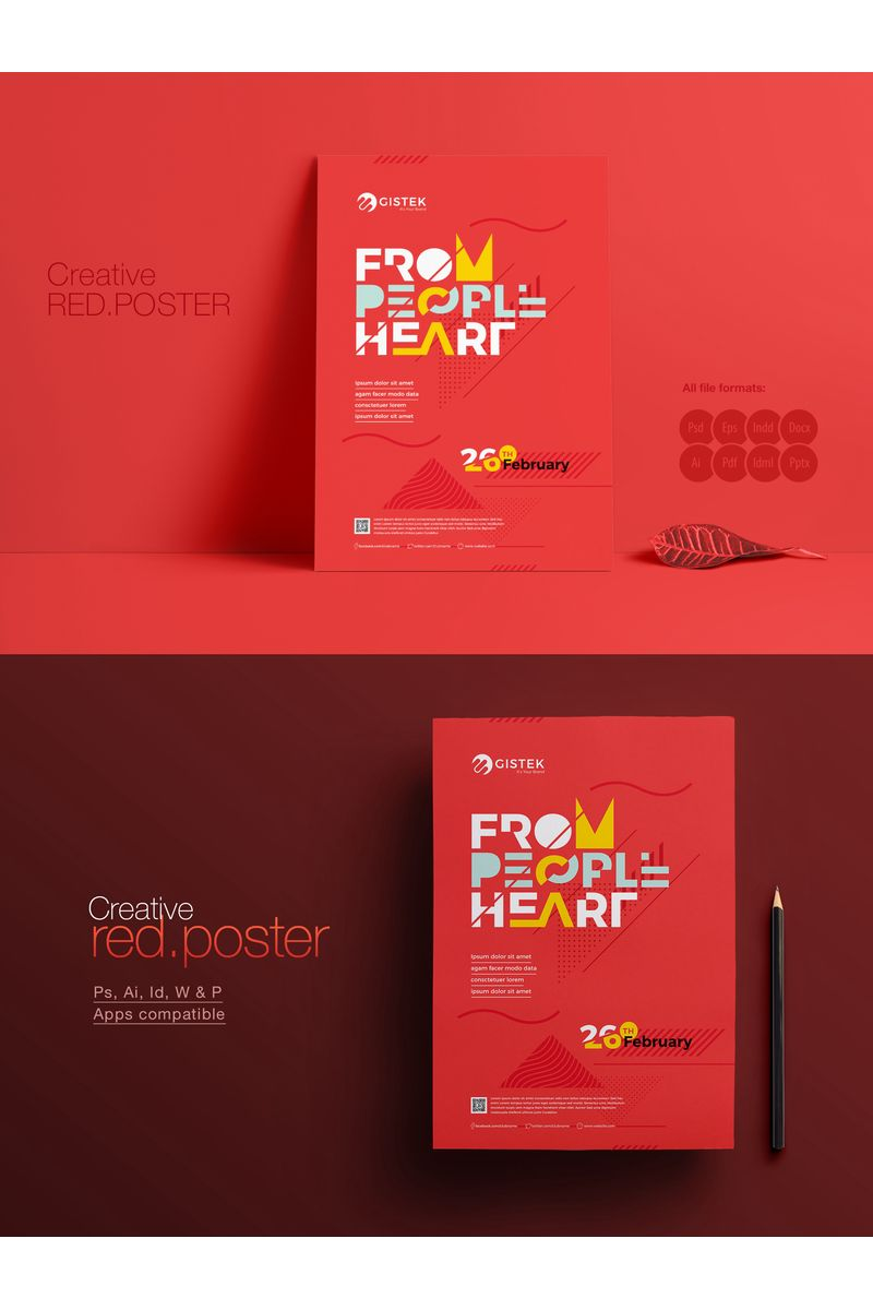 Minimal Red Poster for Event Corporate Identity Template