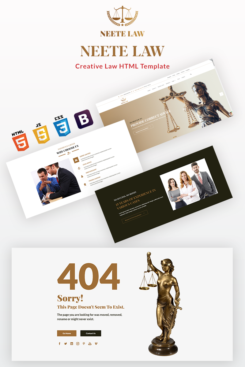 "Plantilla Web ""Neete - Law Responsive HTML"" #98800"