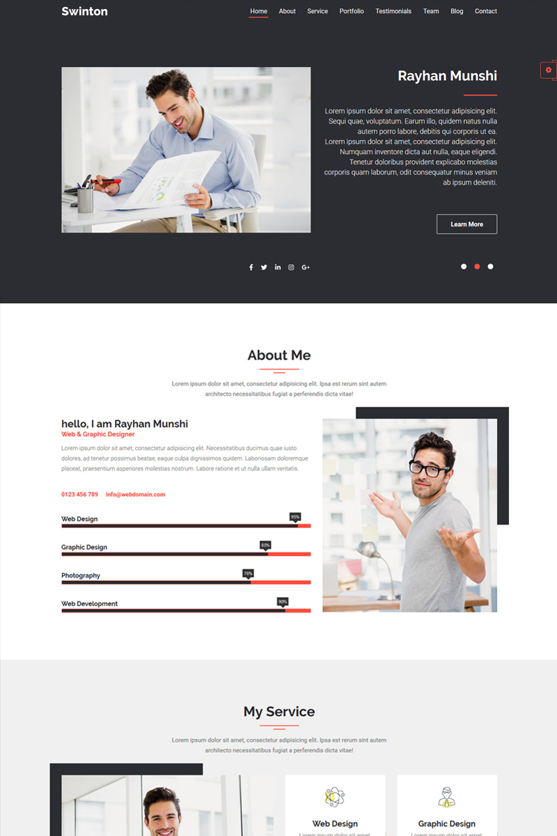 Swinton | Resume Cv and Portfolio Landing Page Template