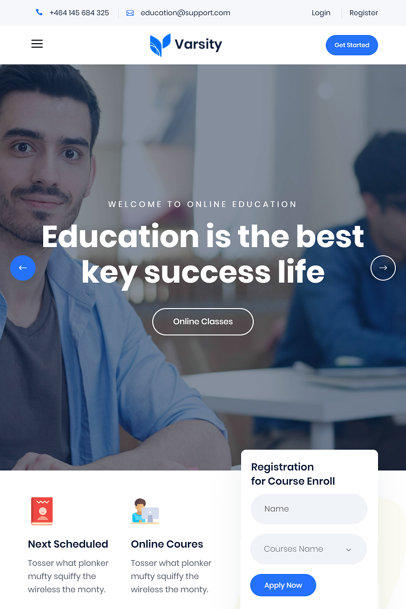 Varsity - Educational Bootstrap 4 Website Template