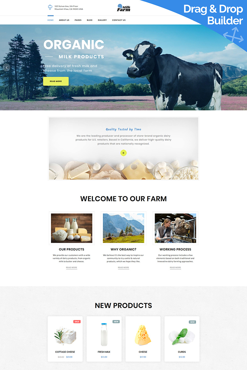 """Dairy Farm"" modèle Moto CMS 3 adaptatif #98987"
