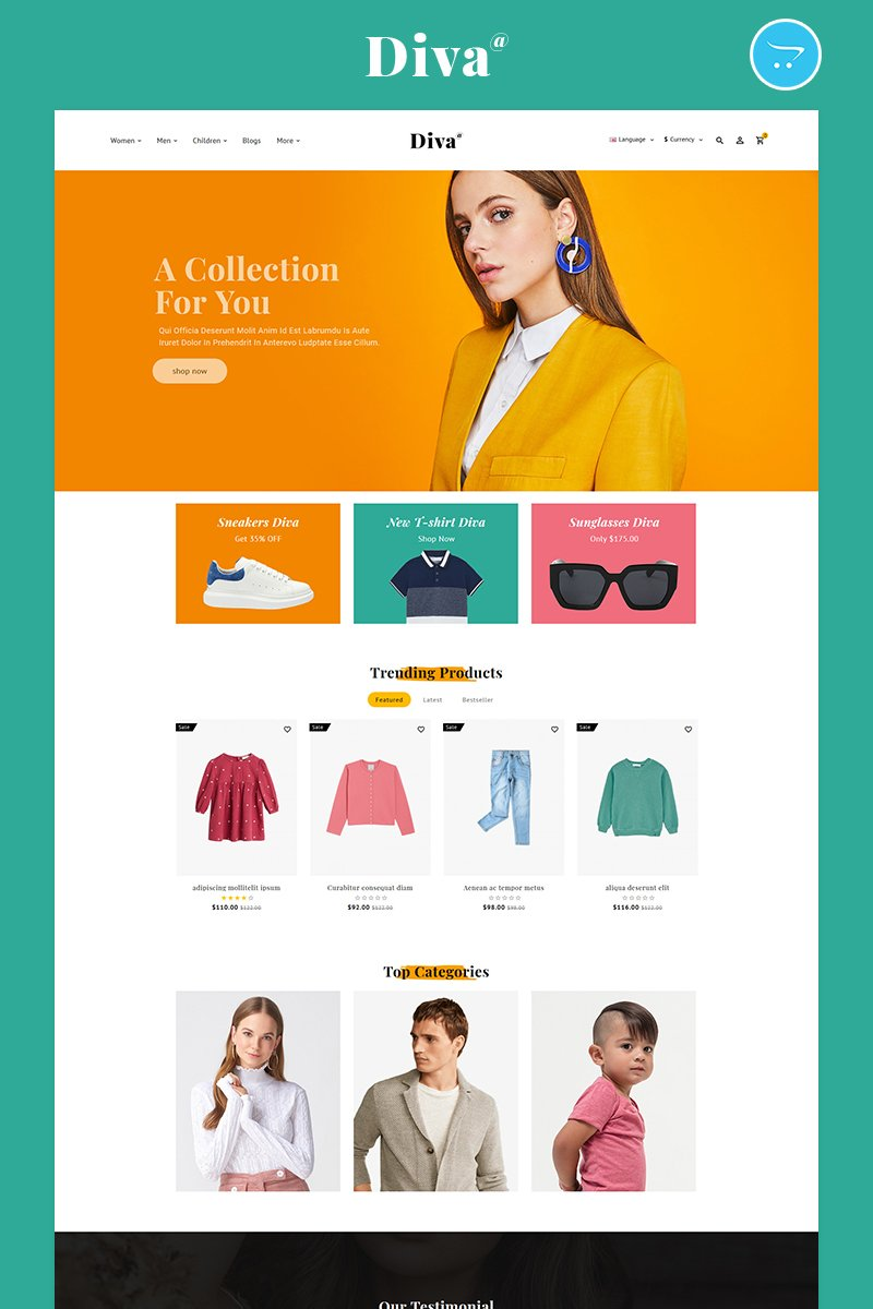 Diva-Fashion Multipurpose Store Template OpenCart №98968