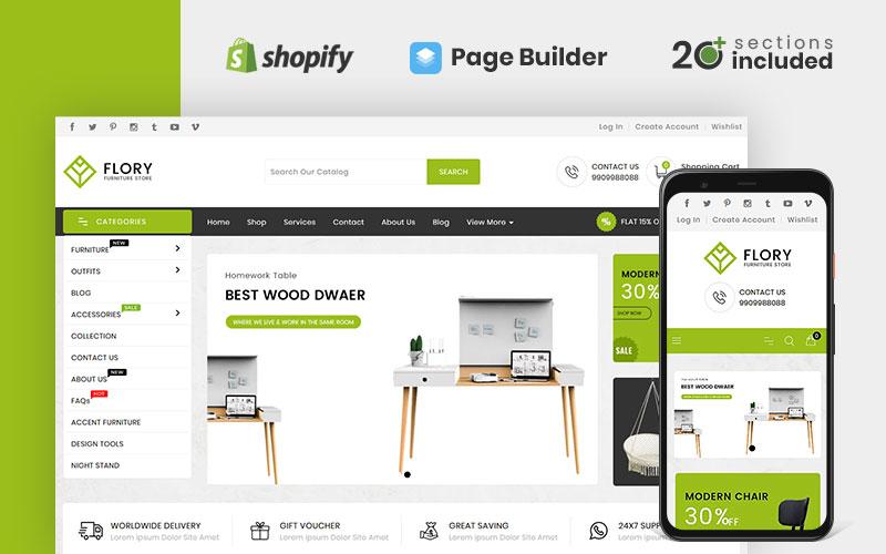 """Flory Wood And Furniture Store"" - адаптивний Shopify шаблон №98937"