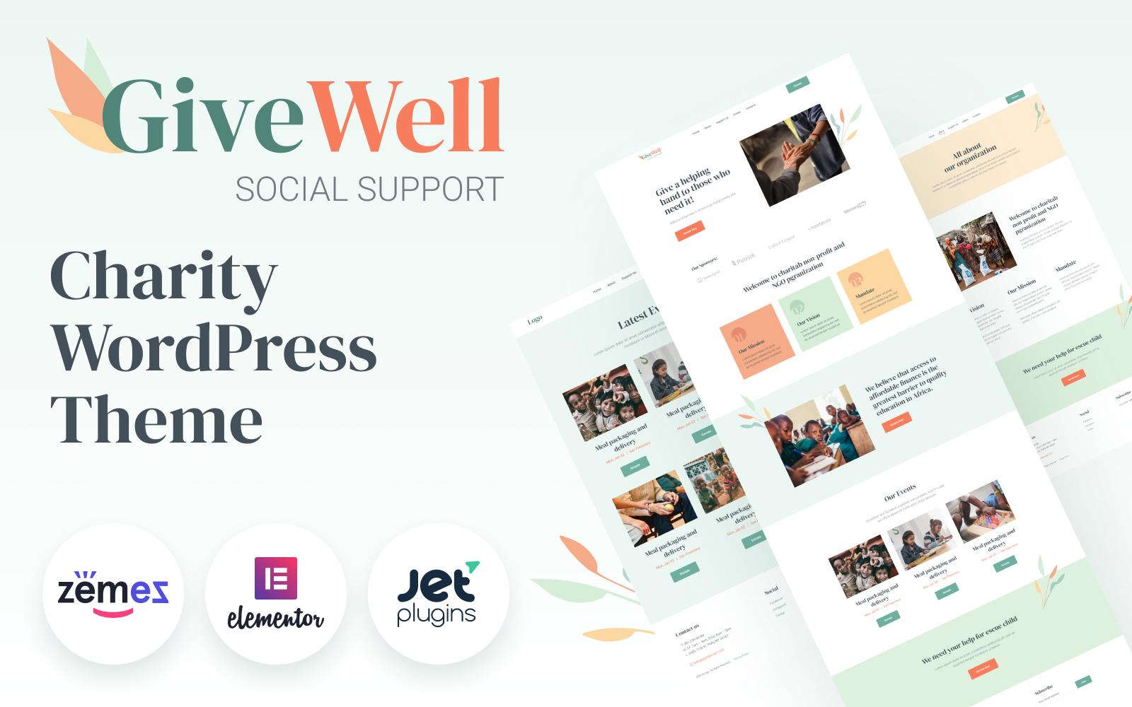 """GiveWell - Donation Non-profit Website"" - адаптивний WordPress шаблон №98971"