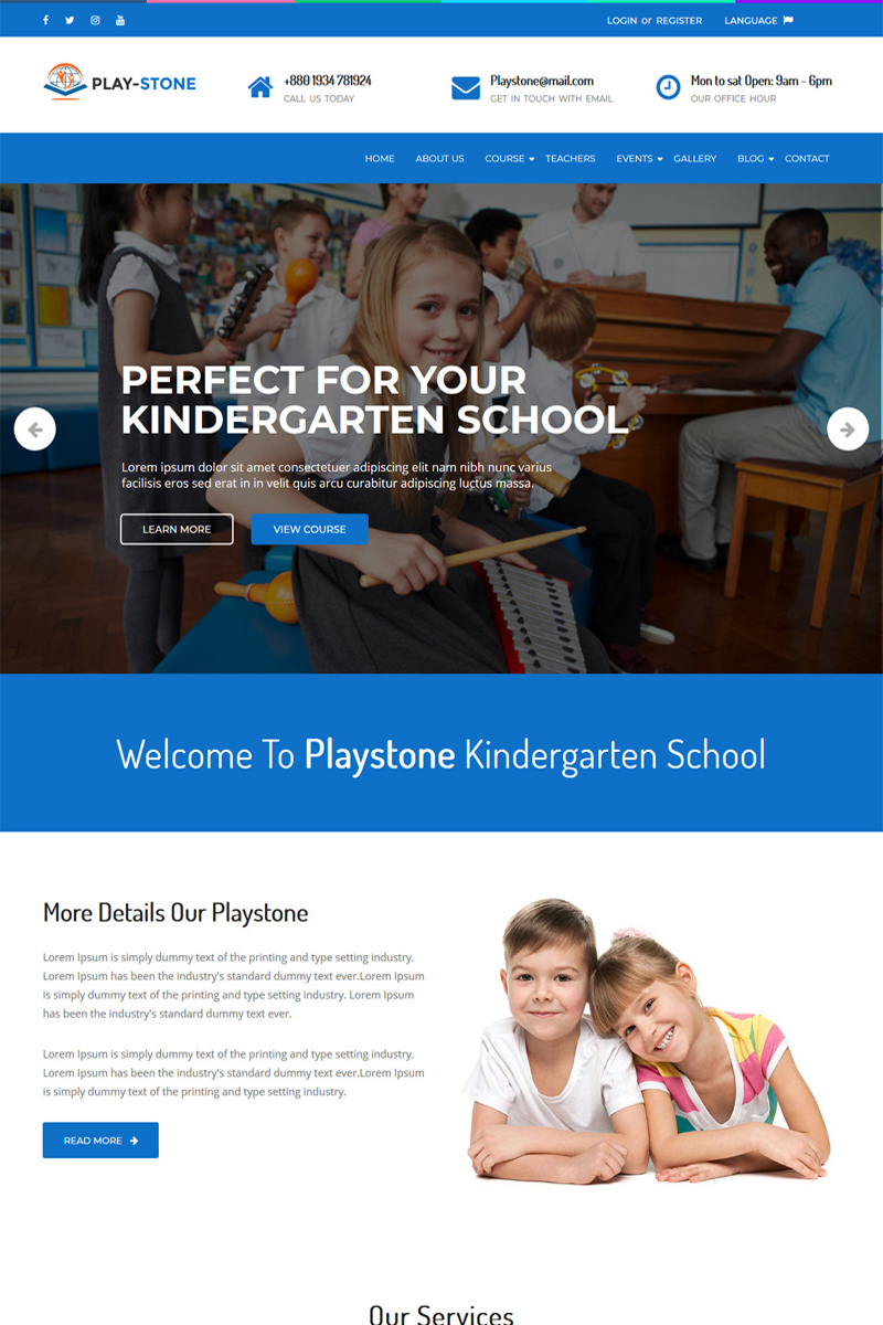 """Playstone - Kindergarten & School"" 响应式WordPress模板 #98933"