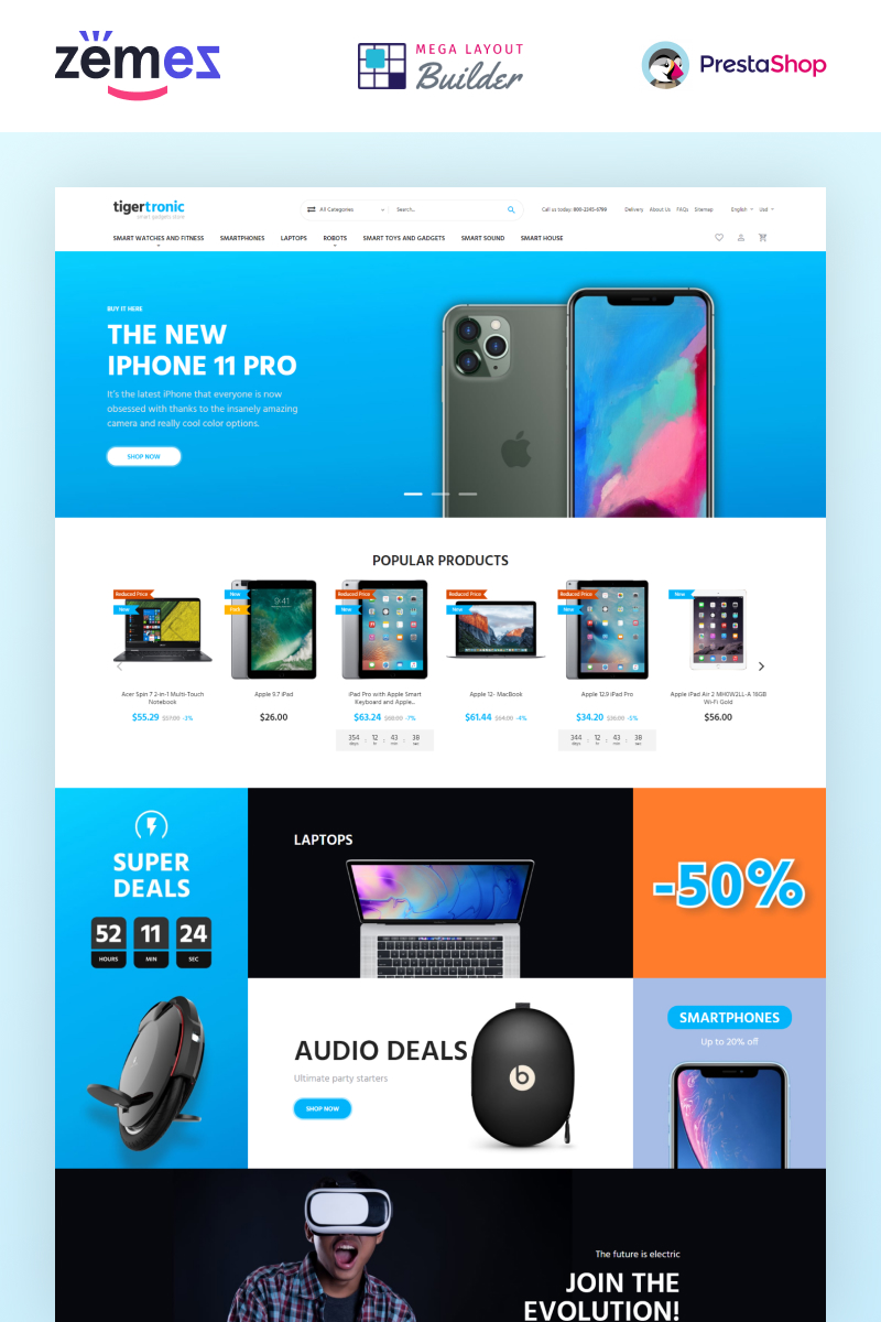 "Responzivní PrestaShop motiv ""TigerTronic - Smart Gadgets eCommerce Template"" #98972"