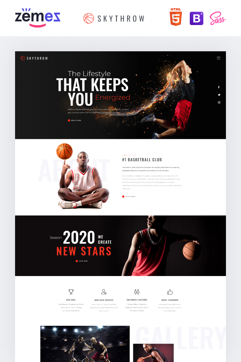 SkyThrow - Basketball Club Website Template