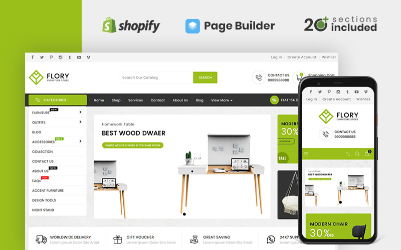 """Tema Shopify """"Flory Wood And Furniture Store"""" #98937"""