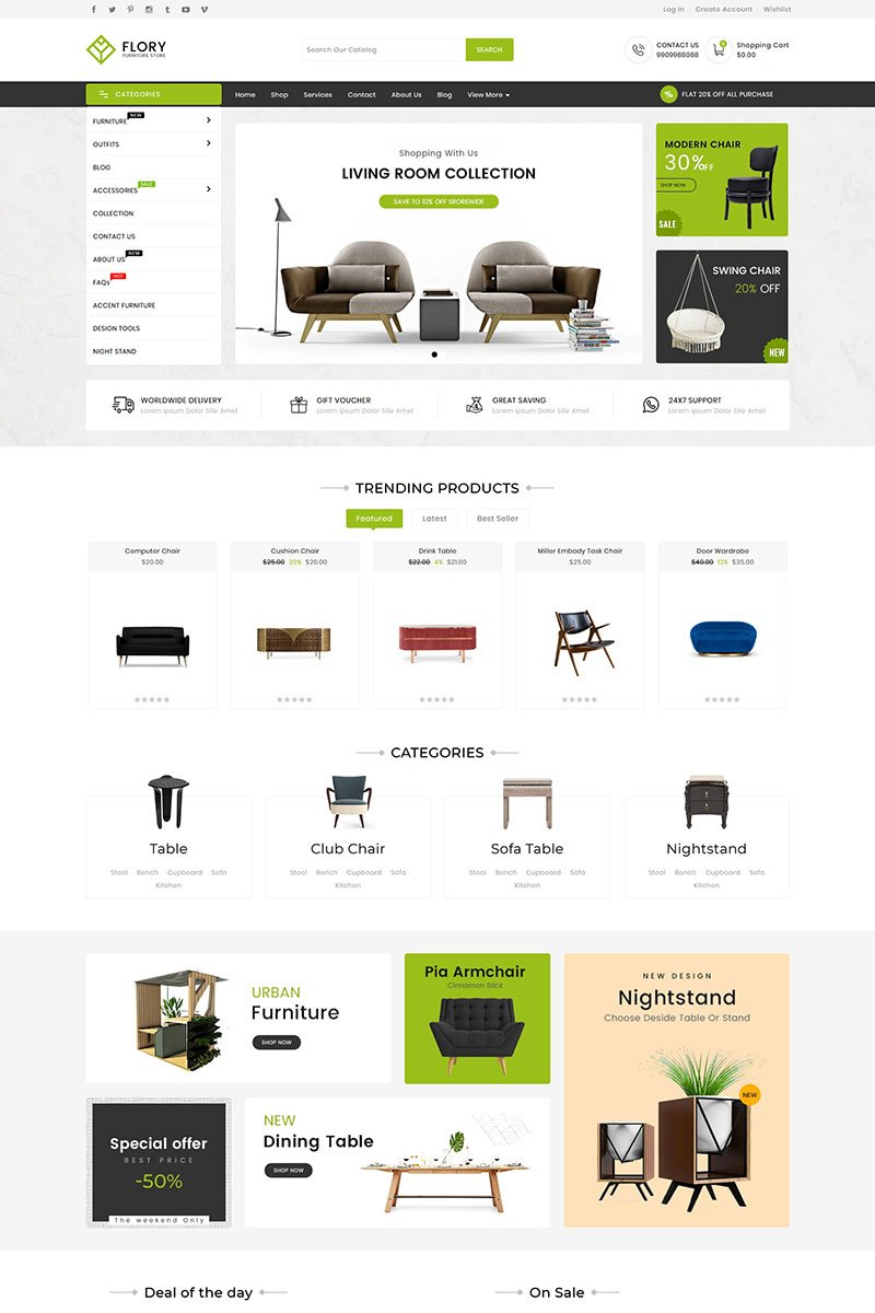 """Tema Shopify Responsive #98937 """"Flory Wood And Furniture"""""""