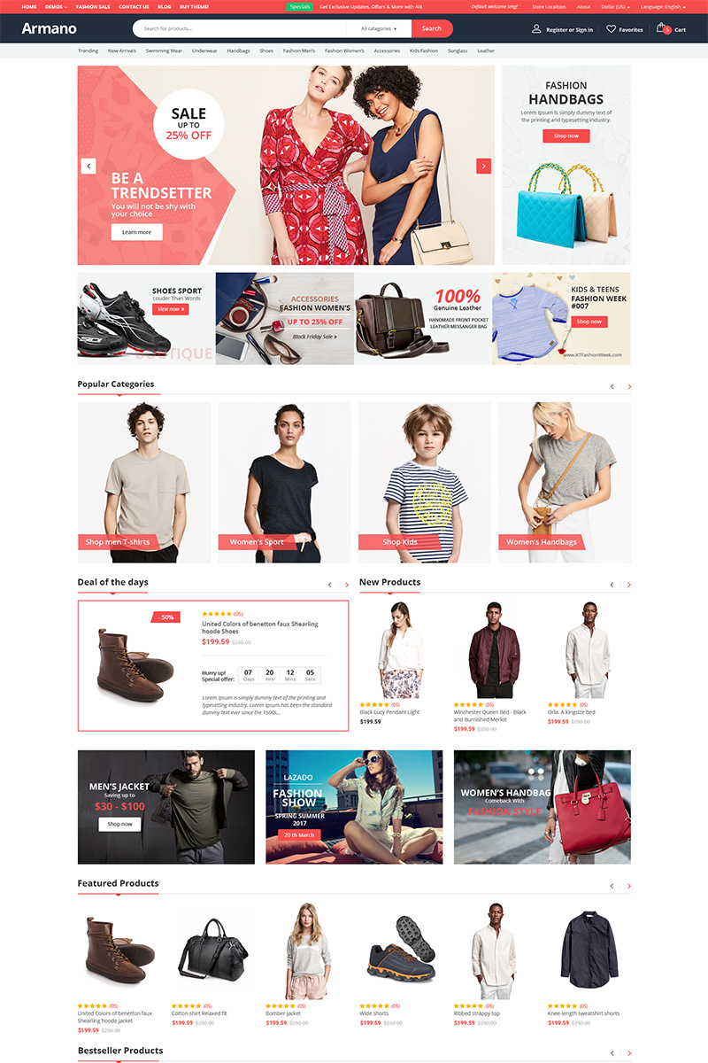 """Tema WooCommerce """"Armano - Multipurpose"""" #98939"""
