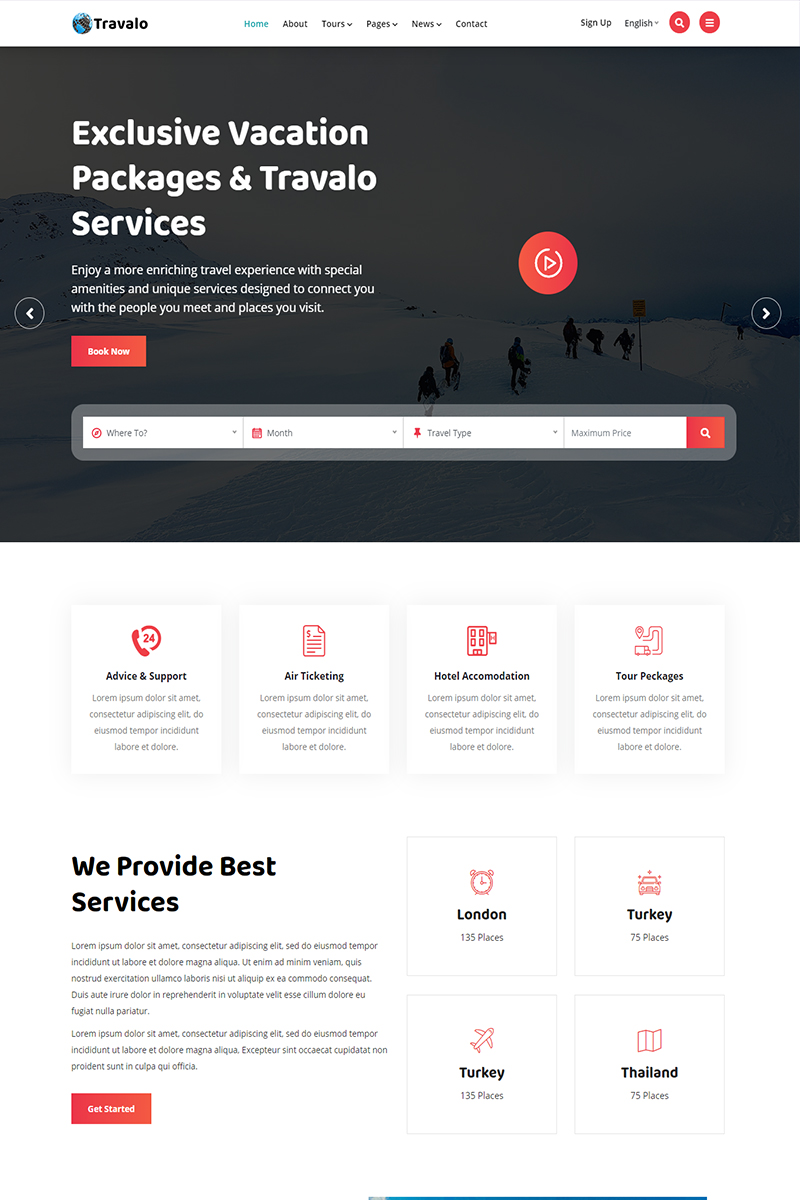 Travalo - Tour & Travel Agency Website Template