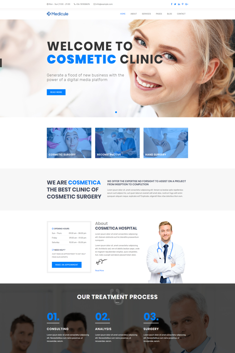 "Website Vorlage namens ""Medicule - Responsive Plastic Surgery and Cosmetic Surgery"" #98936 - Screenshot"