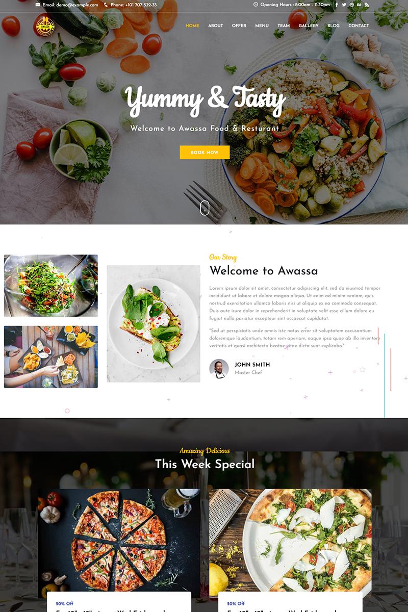 """Awassa - Food & Resturant"" modèle  de page d'atterrissage adaptatif #99087"