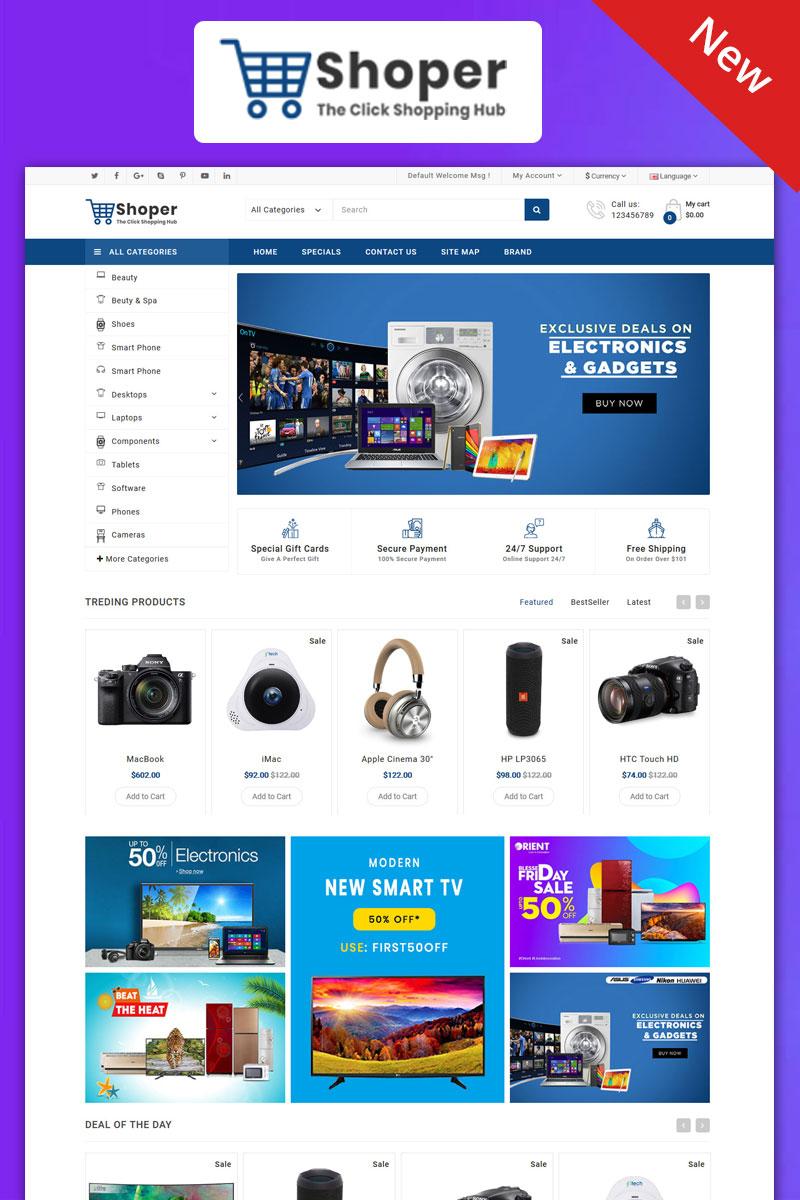 Responsywny szablon OpenCart Shopper Electronics Responsive Theme #99085