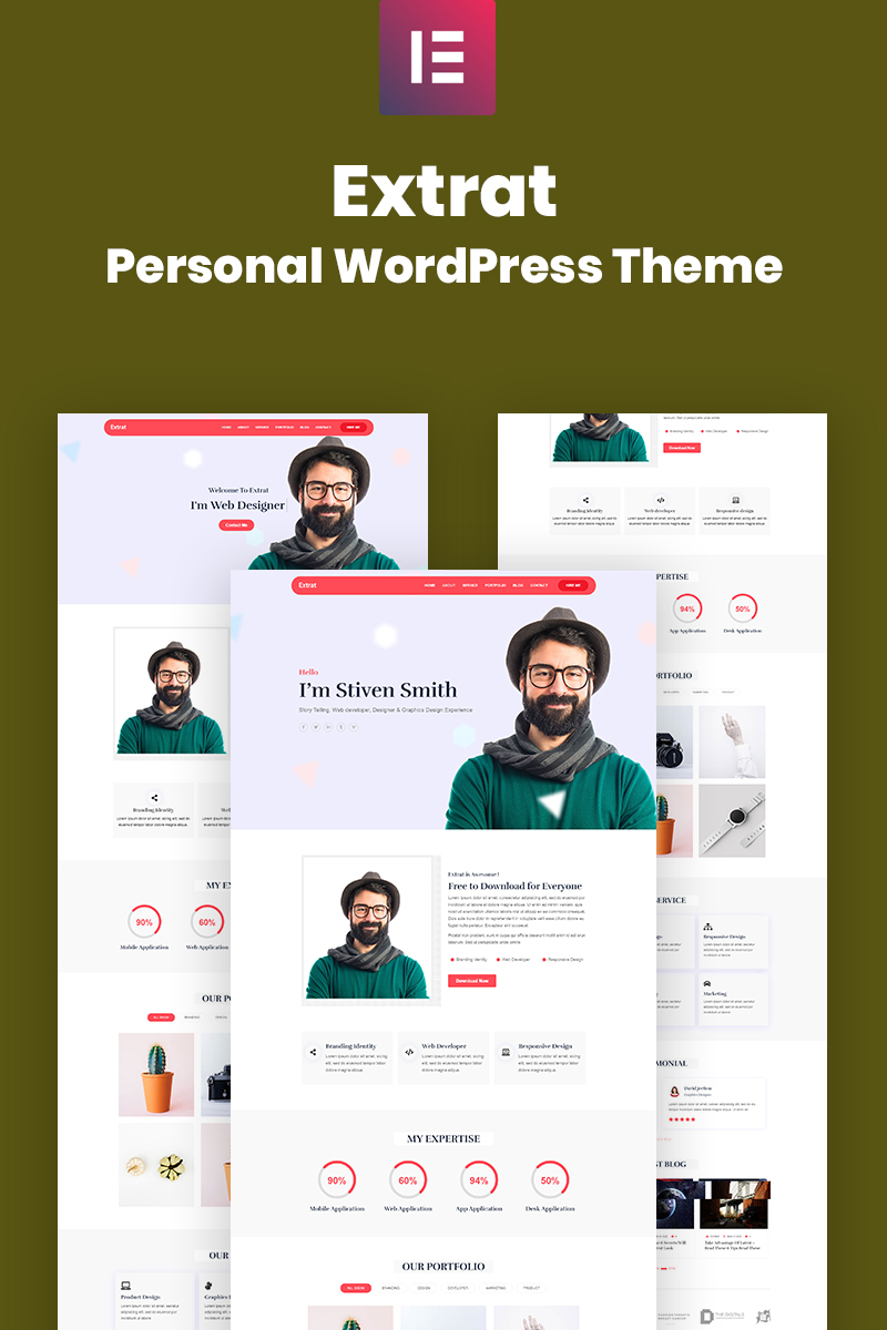 Reszponzív Extrat - Personal Responsive WordPress sablon 99086