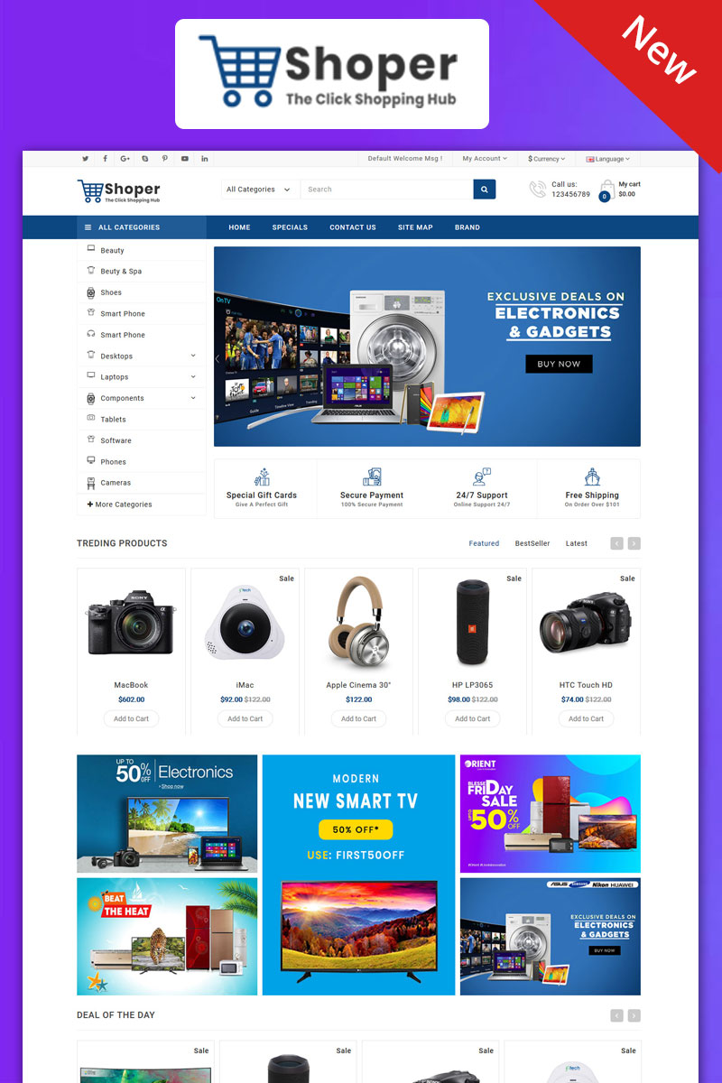 Shopper Electronics Responsive Theme Template OpenCart №99085