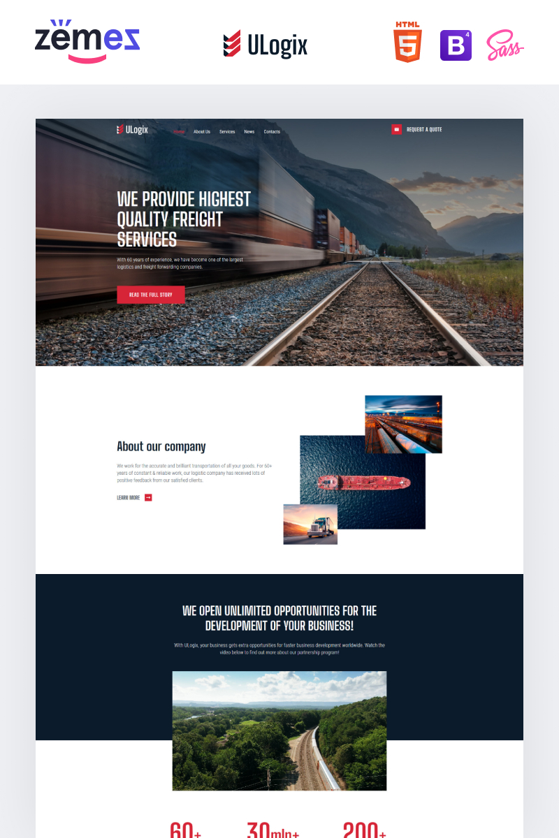 ULogix - Logistics Business Template Web №99088