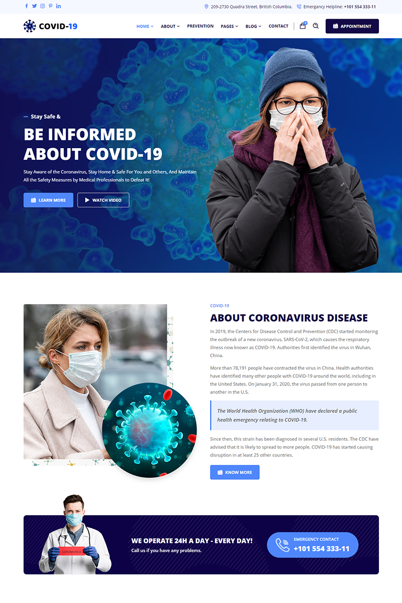 Covid-19 - Corona Virus Medical Prevention Website Template