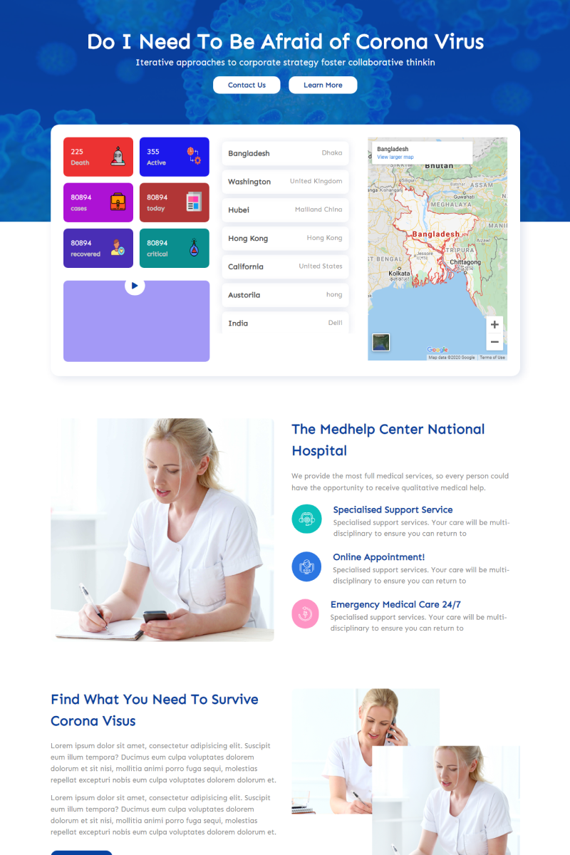 Covid-19 - Coronavirus Medical Prevention Website Template