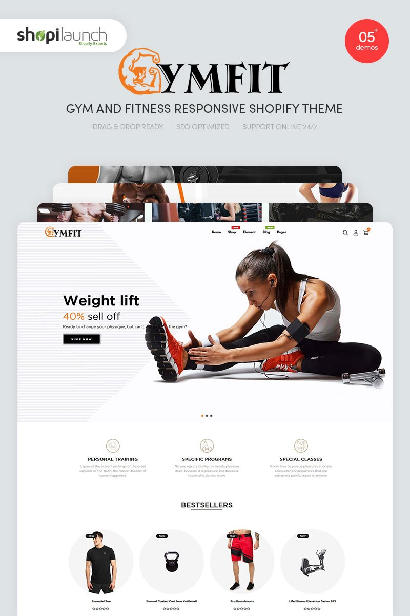 GymFit - Gym And Fitness Responsive Shopify-tema #99209